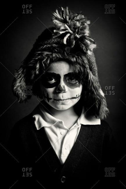 November 3, 2011: Child in skeleton face paint