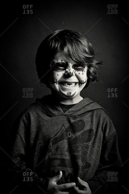 November 3, 2011: Boy in skeleton face paint