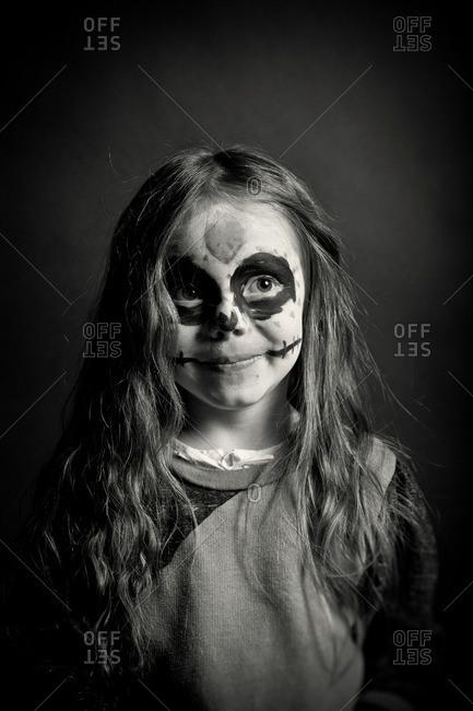November 3, 2011: Smiling girl in skeleton makeup