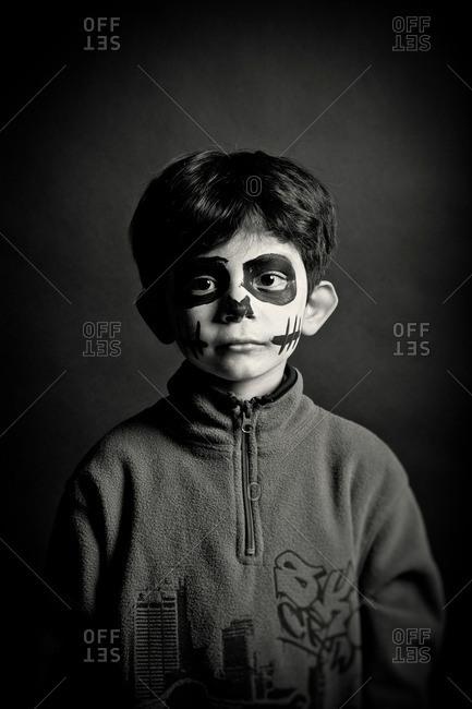 November 3, 2011: Boy wearing skeleton makeup