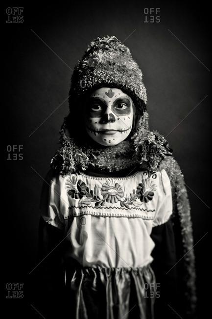 November 3, 2011: Girl in cap wearing skeleton makeup