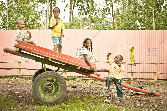 April 2, 2012: Ethiopian kids on a cart