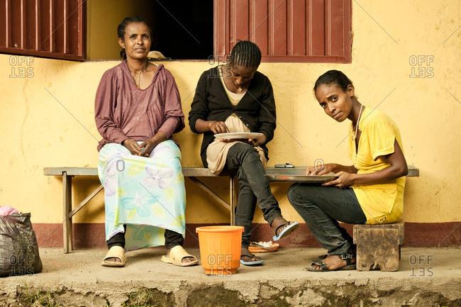 April 2, 2012: Ethiopian women preparing meal together