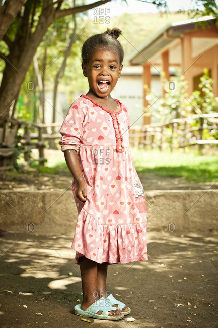 April 13, 2012: Excited Ethiopian girl in dress