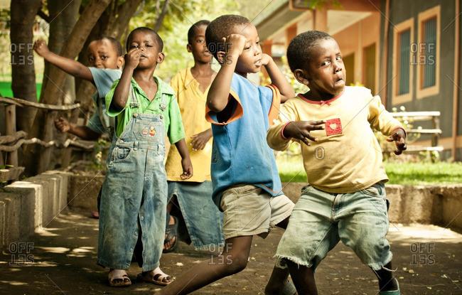 April 13, 2012: Ethiopian boys dancing together