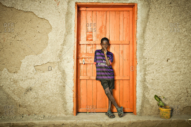 April 14, 2012: Ethiopian boy in doorway