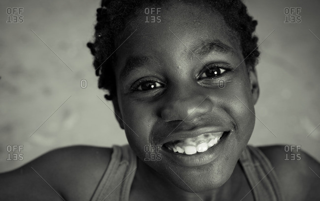 July 27, 2012: Close up of smiling Jamaican boy