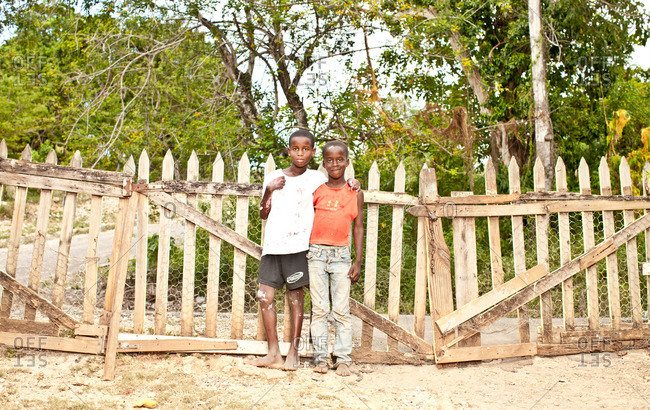 July 27, 2012: Jamaican boys by a fence