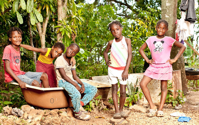 July 27, 2012: Jamaican kids by sink outdoors