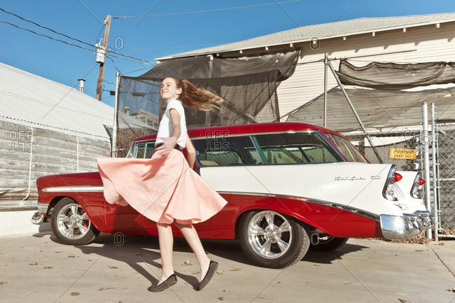 January 19, 2013: Girl twirling in 50s clothing