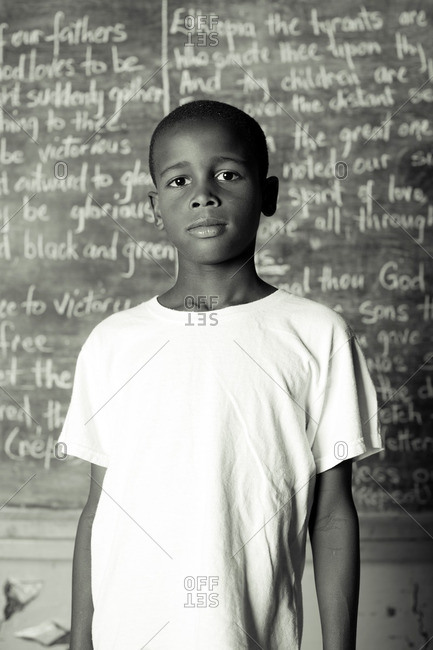 July 27, 2012: A boy by a chalkboard