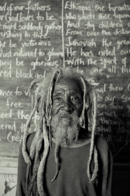 July 27, 2012: Old man by chalkboard, Jamaica