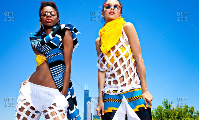 June 18, 2012: Women modeling clothes in Chicago