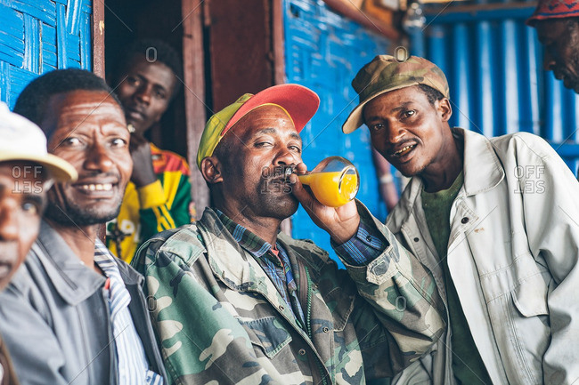 March 27, 2012: Men drinking together in Ethiopia