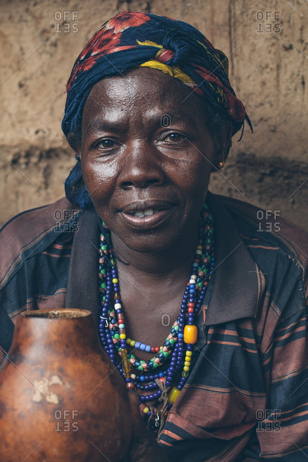 March 28, 2012: Ethiopian woman with a pot