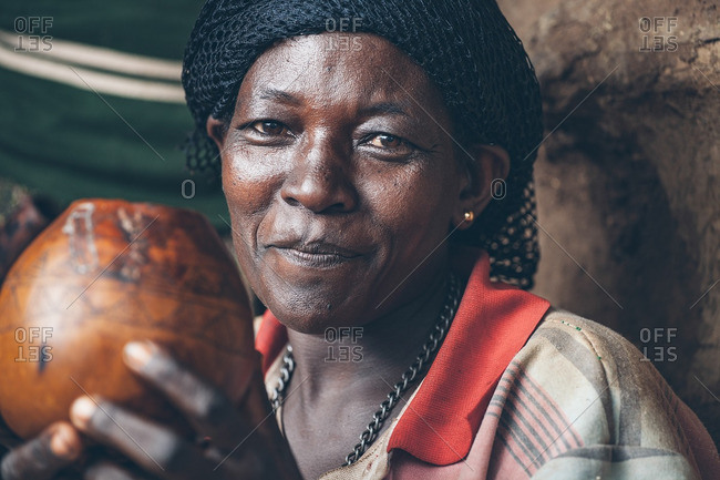 March 28, 2012: Ethiopian woman holding a pot