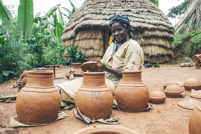 March 29, 2012: Ethiopian woman with clay pots