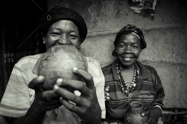 March 29, 2013: Ethiopian women holding pot