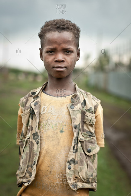 August 12, 2011: Boy in camo vest in Ethiopia
