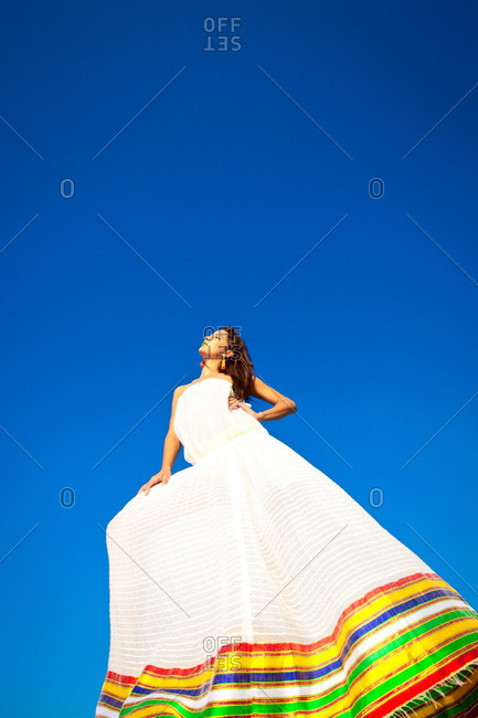 June 19, 2012: Woman in dress with striped hem