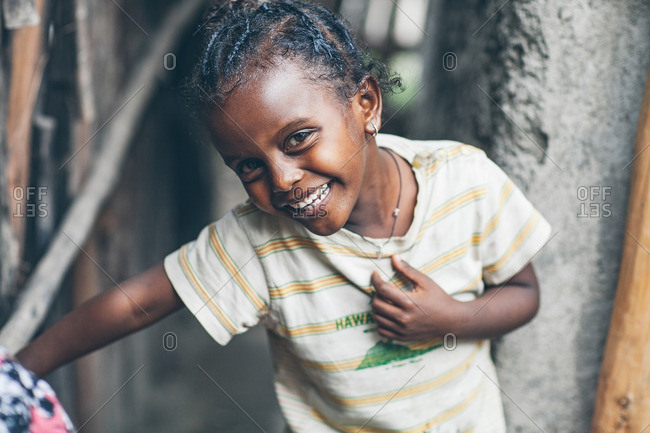 April 12, 2012: Grinning young Ethiopian girl