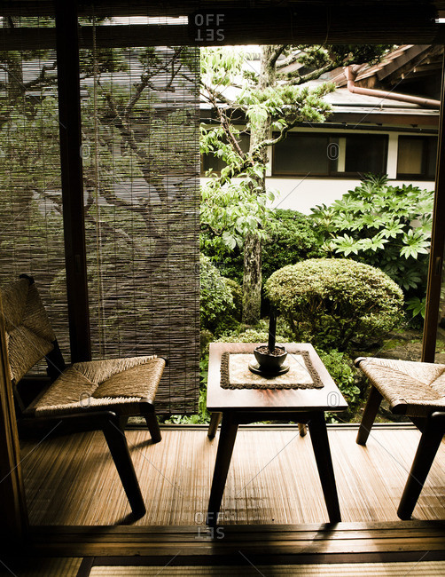 View from a traditional Tatami room into an interior courtyard garden