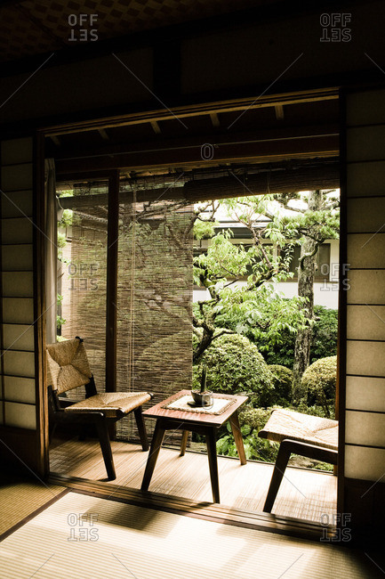 View from a traditional Tatami room into an interior Japanese courtyard garden