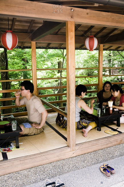 July 31, 2010: Visitors enjoy sitting on Tatami mats at an outdoor lunch spot at Kiyomizu Temple