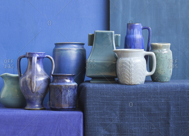 A collection of turquoise earthenware