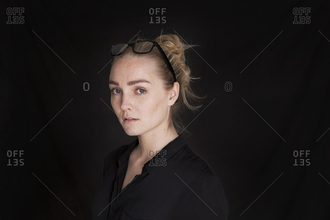 Portrait of a woman on a black background