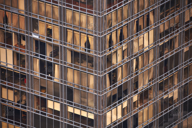 New York City, USA - May 8, 2016: A close-up of a residential building
