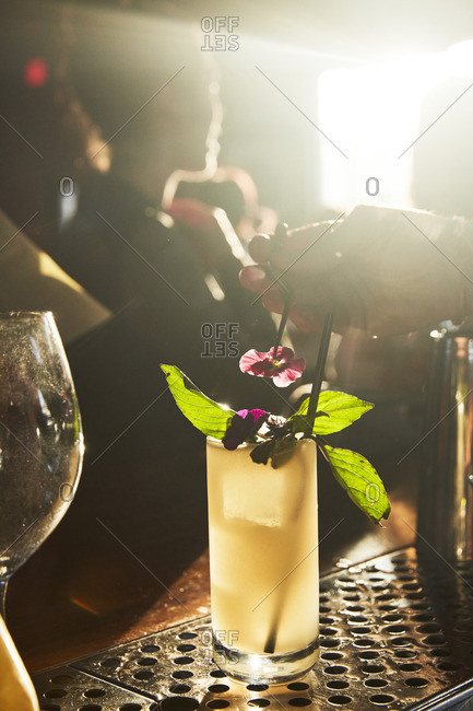 A bartender garnishing a cocktail with flowers