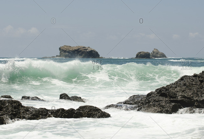 Ocean water with waves, central America