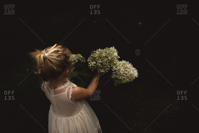 Toddler girl in white dress with hydrangea flowers