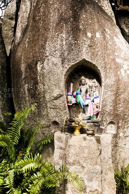 Stone carved shrine at a wellness resort