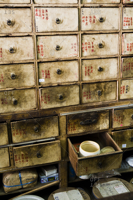 October 2, 2006: Cabinet with drawers of treatments at a traditional Chinese herbal pharmacy