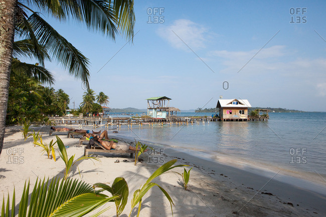 Isla Carenero, Bocas del Toro, Panama - March 27, 2016: tropical beach scenery in Bocas del Toro