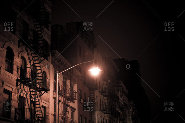 Buildings and streetlight at night