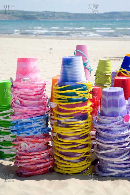 Buckets on Weymouth beach