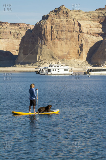 Stand up Paddleboarding on Lake Powell, Glen Caynon National Recreation Area, Page,  Arizona