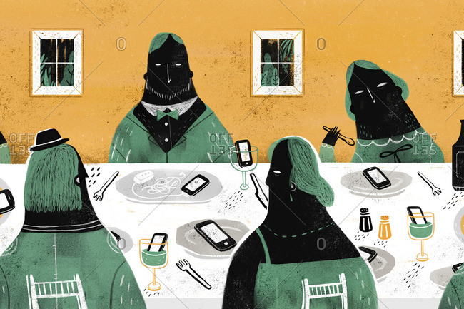A dinner party with phones