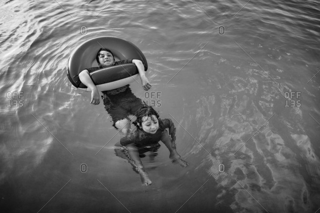 Children playing together in the water