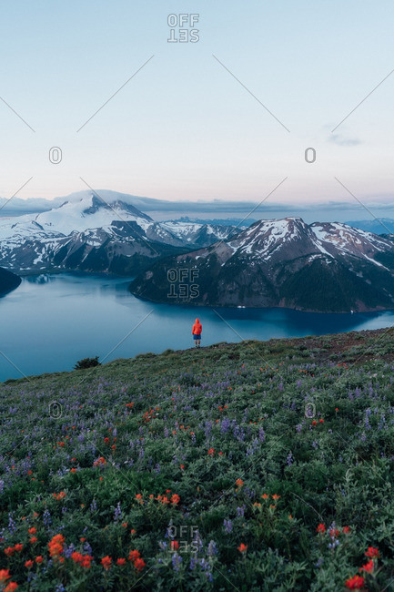 Person in orange jacket overlooking lake and mountains, British Columbia
