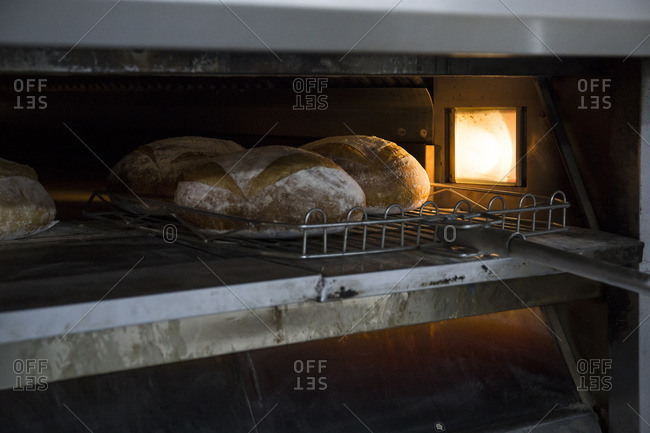 Bread in the oven of a bakery