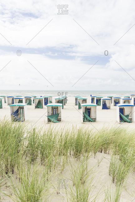 Netherlands, Zeeland, empty beach huts at low season