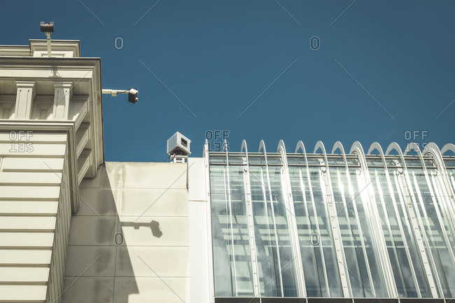 Berlin - August 7, 2016: security cameras on building