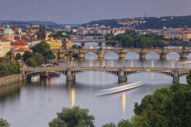 Czech Republic, Prague, Old town with bridges, Charles Bridge and Old Town Bridge Tower in the evening