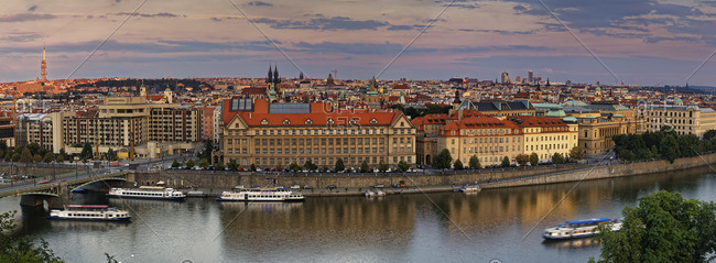 Czech Republic, Prague, Cityscape and Cechuv most bridge, Vltava river