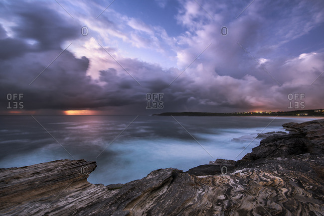 Australia, New South Wales, Maroubra, beach in the evening