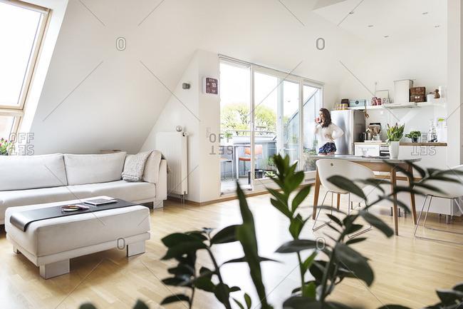 Woman in attic flat